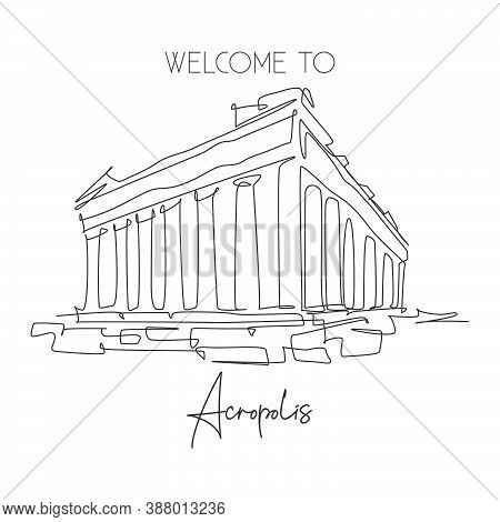 One Single Line Drawing Acropolis Temple Landmark. World Famous Ruin In Athens, Greek. Tourism Trave