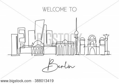 One Continuous Line Drawing Berlin City Skyline. Beautiful City Skyscraper Landscape. World Home Dec
