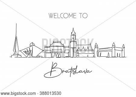 Single Continuous Line Drawing Of Bratislava City Skyline Slovakia. Famous Beauty City Landscape. Wo
