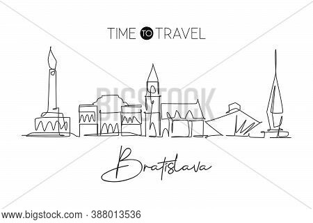 One Single Line Drawing Of Bratislava City Skyline, Slovakia. Historical Town Landscape In The World