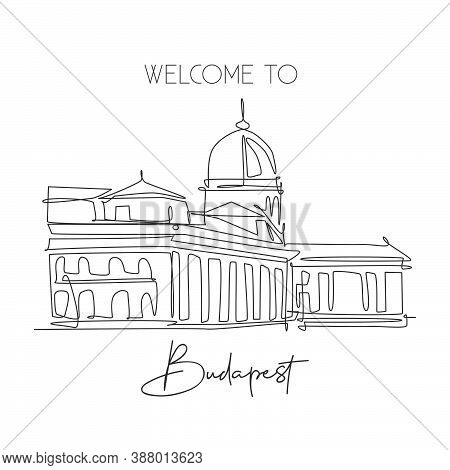 One Single Line Drawing Buda Castle Landmark. World Famous Iconic Palace In Budapest Hungary. Touris