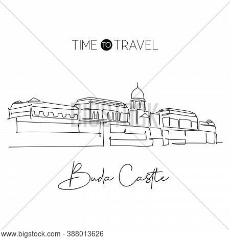 One Continuous Line Drawing Buda Castle Landmark. Historical Royal Palace In Budapest, Hungary. Trav
