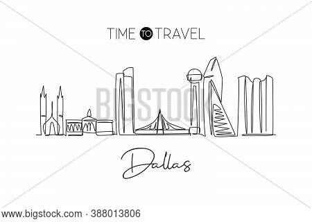 Single Continuous Line Drawing Of Dallas City Skyline, Usa. Famous City Scraper And Landscape. World