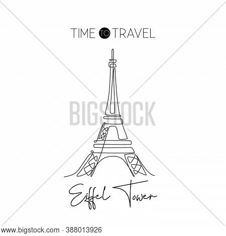 One Continuous Line Drawing Eiffel Tower. Romantic Iconic Place In Paris, France. Holiday Vacation H
