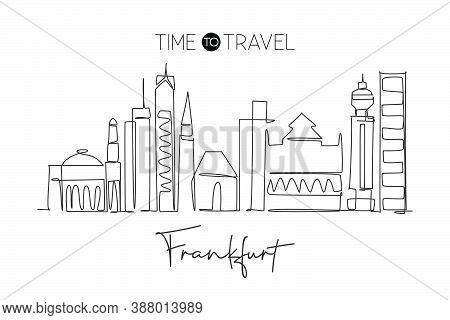 One Single Line Drawing Frankfurt City Skyline, Germany. Historical Skyscraper Landscape In World. B