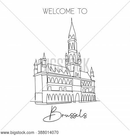 Single Continuous Line Drawing Grand Place Of Brussels Landmark. Most Beautiful Famous Place In Belg