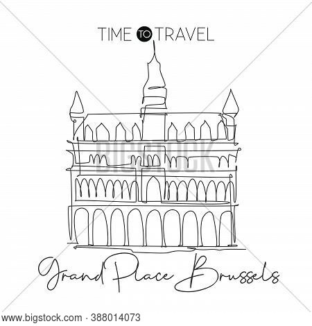 One Single Line Drawing Grand Place Brussels Landmark. Famous Iconic In Belgium. Tourism Travel Post