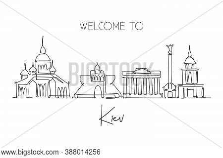 One Single Line Drawing Of Kyiv City Skyline, Ukraine. Historical Town Landscape In World. Best Holi