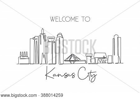 One Single Line Drawing Of Kansas City Skyline, United States. Historical Town Landscape. Best Holid