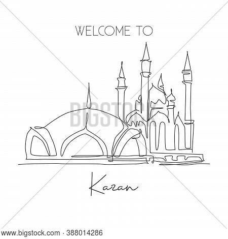 One Continuous Line Drawing Kul Sharif Mosque Landmark. Beautiful Famous Masjid At Kazan Russia. Rel