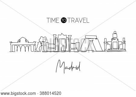 One Single Line Drawing Of Madrid City Skyline, Spain. Historical Skyscraper Landscape In World Post