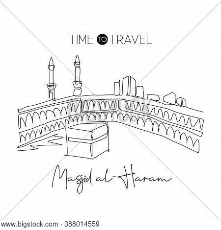 One Single Line Drawing Masjid El Haram Landmark. World Famous Iconic In Mecca, Saudi Arabia. Religi