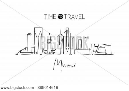 One Continuous Line Drawing Miami City Skyline, United States. Beautiful Landmark. World Landscape T