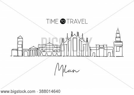 One Continuous Line Drawing Of Milan City Skyline, Italy. Beautiful Skyscraper. World Landscape Tour