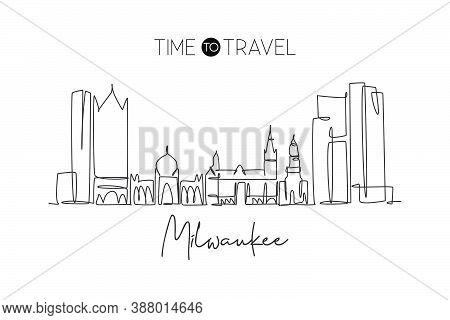 One Continuous Line Drawing Of Milwaukee City Skyline, United States. Beautiful Landmark. World Land