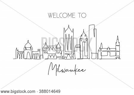 One Single Line Drawing Of Milwaukee City Skyline, Usa. Historical Town Landscape. Best Holiday Dest