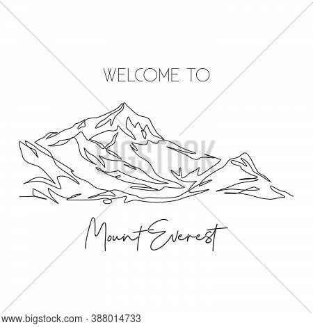 One Single Line Drawing Himalaya Mount Everest Landmark. World Famous Place In Nepal. Tourism Travel