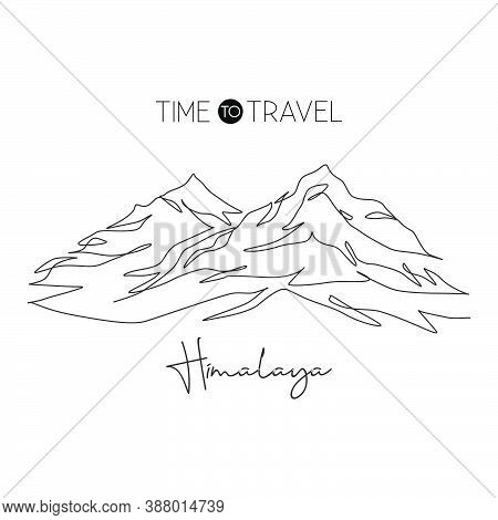 Single Continuous Line Drawing Himalayan Mount Everest Landmark. Beautiful Famous Place In Nepal. Wo
