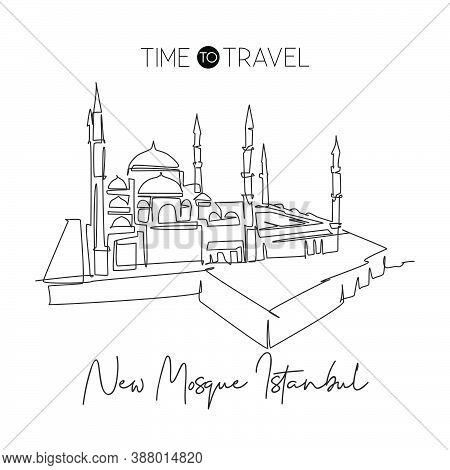 One Continuous Line Drawing New Mosque Landmark Skyline Masjid Building Landscape At Istanbul Turkey