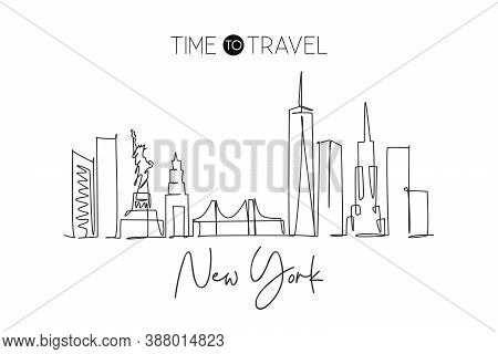 Single Continuous Line Drawing Of New York City Skyline, Usa. Famous City Scraper And Landscape. Wor