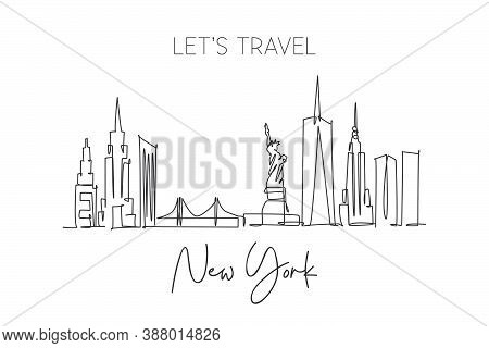 One Single Line Drawing New York City Skyline United States. Historical Town Landscape In World. Bes