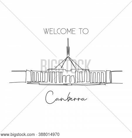 One Continuous Line Drawing Parliament House Canberra Landmark. Government Meeting Place In Australi