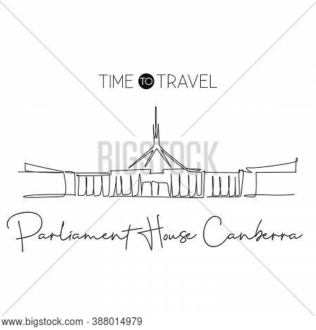 Single Continuous Line Drawing Parliament House Of Canberra Landmark. Government Building In Austral