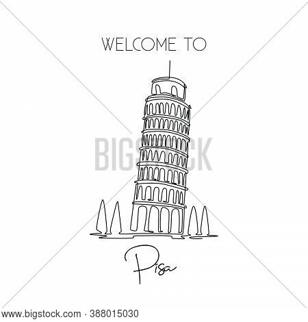 Single One Line Drawing Of Lean Pisa Tower. Beautiful Historical Iconic Place In Piazza Del Duomo. P