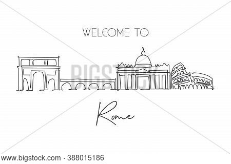 Single Continuous Line Drawing Of Rome City Skyline, Italy. Famous Roma Skyscraper Landscape. World