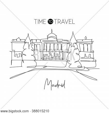 One Continuous Line Drawing Royal Palace Of Madrid Landmark. Historical Palacio Real De Madrid In Sp