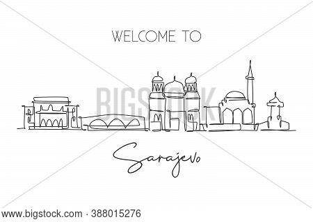 Single Continuous Line Drawing Of Sarajevo City Skyline, Bosnia And Herzegovina. Famous Landscape. W