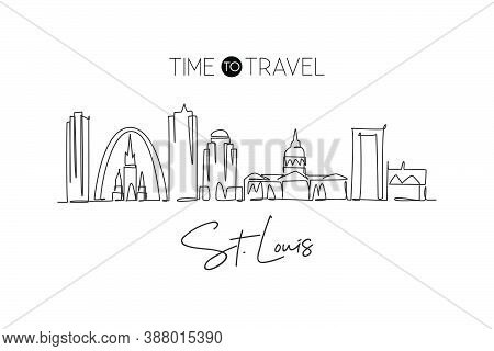 One Continuous Line Drawing Of St. Louis City Skyline, Usa. Beautiful Landmark. World Landscape Tour
