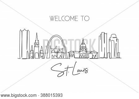 One Single Line Drawing Of St. Louis City Skyline, Usa. Historical Town Landscape In The World. Best
