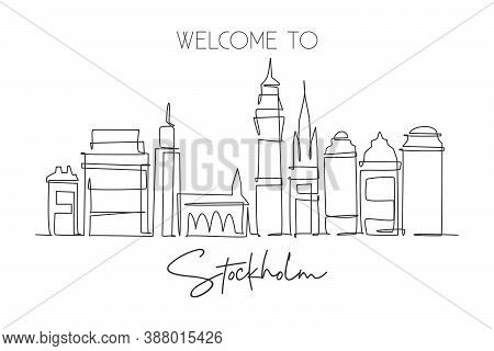 One Continuous Line Drawing Of Stockholm City Skyline, Sweden. Beautiful Landmark. World Landscape T