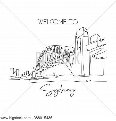 One Continuous Line Drawing Sydney Harbour Bridge Landmark. Great Bridge In Australia. Holiday Vacat
