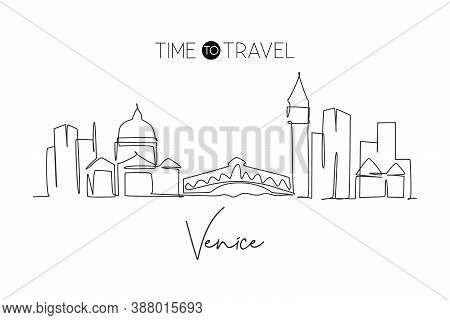 One Single Line Drawing Of Venice City Skyline, Italy. Historical Skyscraper Landscape In World Post