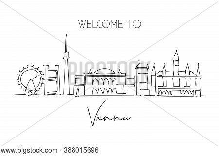 Single Continuous Line Drawing Of Vienna City Skyline, Austria. Famous City Scraper Landscape. World