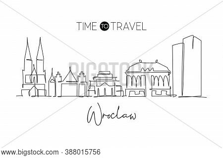 One Single Line Drawing Of Wroclaw City Skyline, Poland. Historical Skyscraper Landscape In World. B