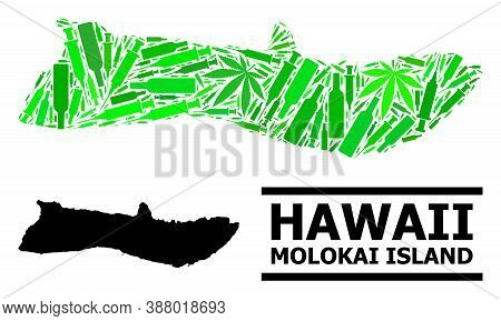 Drugs Mosaic And Solid Map Of Molokai Island. Vector Map Of Molokai Island Is Made Of Randomized Vac
