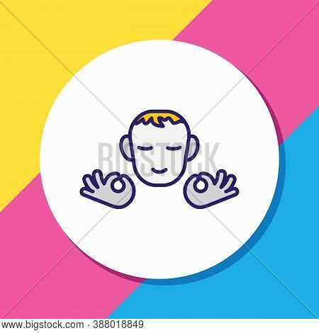 Vector Illustration Of Calm Person Icon Colored Line. Beautiful Emoji Element Also Can Be Used As Me