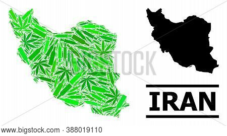 Drugs Mosaic And Usual Map Of Iran. Vector Map Of Iran Is Formed Of Random Vaccine Doses, Narcotic A