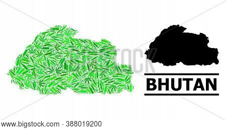 Addiction Mosaic And Usual Map Of Bhutan. Vector Map Of Bhutan Is Created From Scattered Inoculation