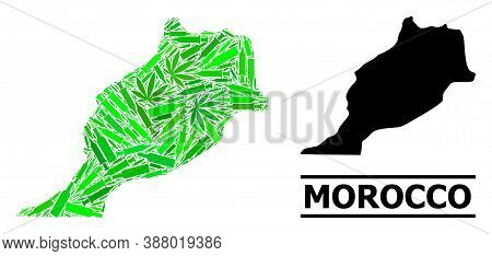 Addiction Mosaic And Usual Map Of Morocco. Vector Map Of Morocco Is Organized Of Randomized Syringes