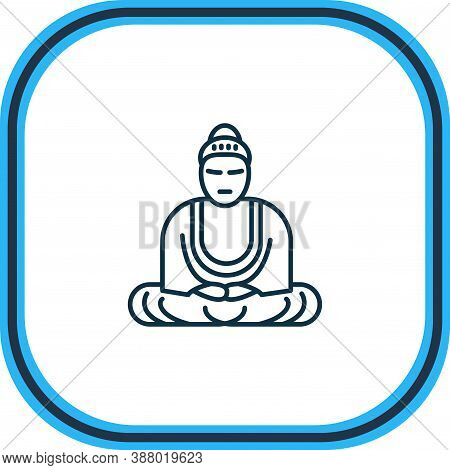 Vector Illustration Of Great Buddha Icon Line. Beautiful Tourism Element Also Can Be Used As Mantra