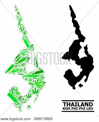 Drugs Mosaic And Solid Map Of Koh Phi Leh. Vector Map Of Koh Phi Leh Is Organized Of Randomized Vacc