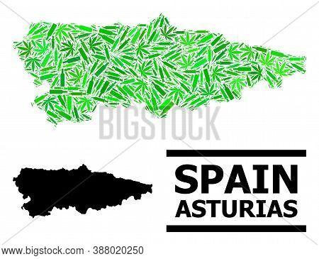 Addiction Mosaic And Usual Map Of Asturias Province. Vector Map Of Asturias Province Is Done With Ra