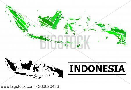 Drugs Mosaic And Usual Map Of Indonesia. Vector Map Of Indonesia Is Organized Of Randomized Vaccine