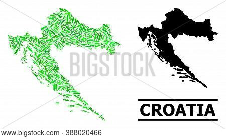 Drugs Mosaic And Solid Map Of Croatia. Vector Map Of Croatia Is Organized From Random Vaccine Symbol