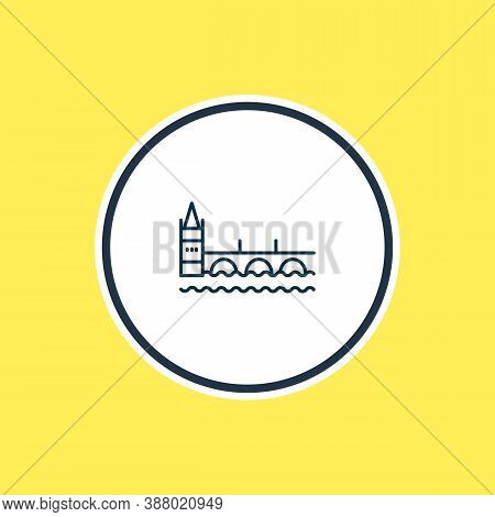 Vector Illustration Of Charles Bridge Icon Line. Beautiful History Element Also Can Be Used As Pragu