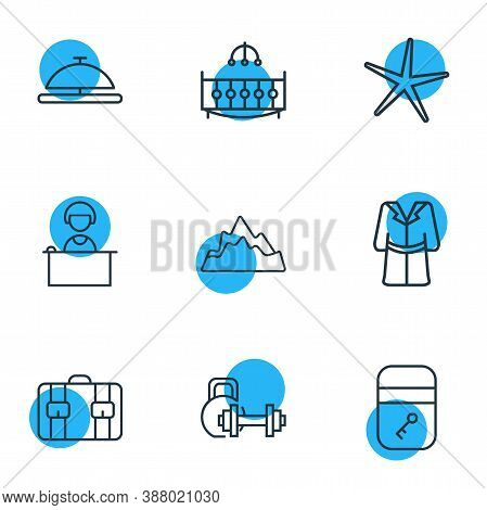 Vector Illustration Of 9 Travel Icons Line Style. Editable Set Of Starfish, Reception, Suitcase And